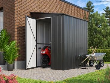 Globel Gerätehaus Fahrradschuppen Lean To 56 BxTxH 155x180x203cm Anthrazit