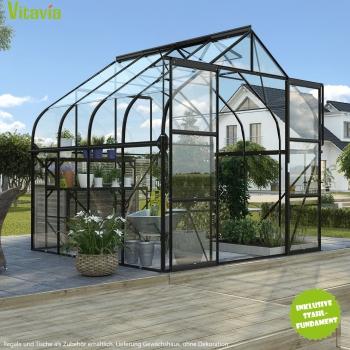 SET: Gewächshaus Diana 6700 ESG schwarz + Fundamentsrahmen
