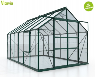 SET: Gewächshaus Meridian 2 9900 ESG smaragd + Fundamentsrahmen